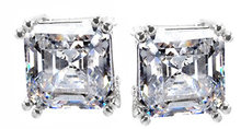 ASSCHER CUT diamond stud earrings G VS1 Platinum NEW