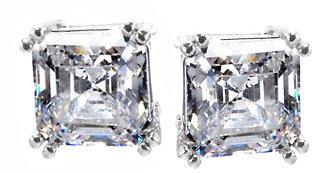 ASSCHER CUT diamond stud earrings G VS1 Platinum NEW