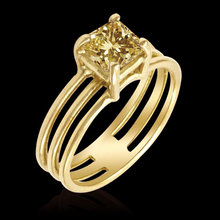 1.50 ct. fancy yellow diamond princess solitaire ring