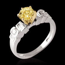 2.25 ct. yellow canary diamonds engagement ring 6 prong