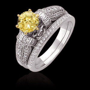 2.75 ct yellow canary diamonds engagement ring band set