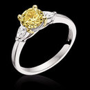 2.51 ct. yellow canary pear cut diamonds 3-stone ring