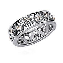 6.60 Ct. Diamond ring eternity wedding band gold F VS1