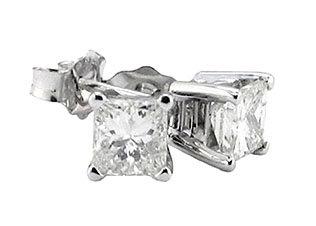 Princess cut diamond 2.51 ct. stud earring F VS1 gold