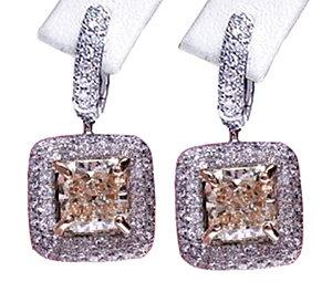 5 carats diamond earrings studs princess cut pave hoops