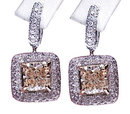 5 carats diamond earrings studs princess cut pave hoops
