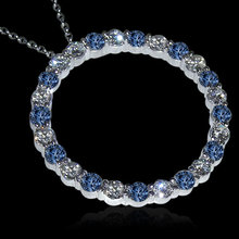 8.75 carat White blue diamonds circle pendant necklace