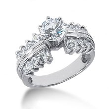 Diamonds solitaire ring with accents 3 carat diamonds