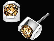 3 carat champagne brown diamonds stud earrings pair