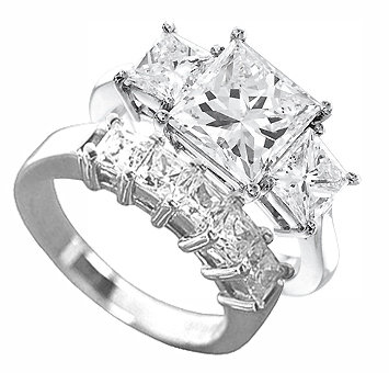 4.75 carats princess cut real DIAMOND engagement set