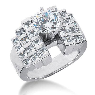 F VVS1 diamonds engagement ring 3.51 carat diamond gold