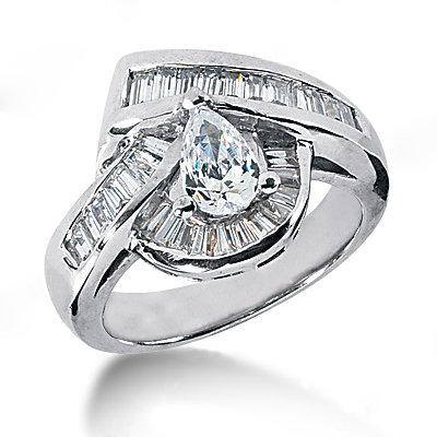3.51 Ct. pear cut engagement ring gold diamonds F VVS1