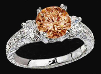 3.5 Ct. Champagne diamond ring 3 stone ring with accent