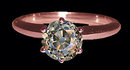 2 carat old miner cut diamond solitaire ring pink gold