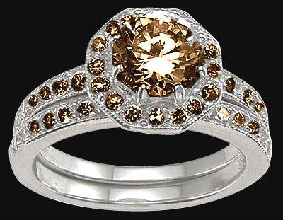 Champagne diamonds engagement ring & band set 4.25