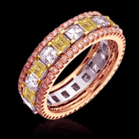 4 ct. pink yellow white diamonds eternity wedding band