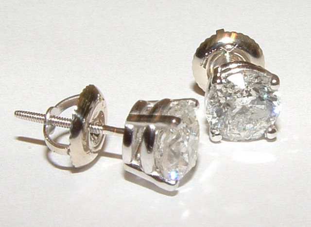 DIAMOND 3.01 CT. EARRINGS round H VS1 natural diamonds