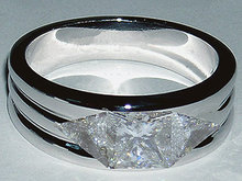 Men's ring diamond ring with princess & trilliants ring