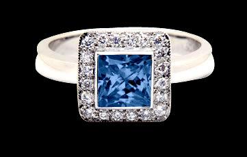 2.80 carat blue white diamonds engagement ring gold new