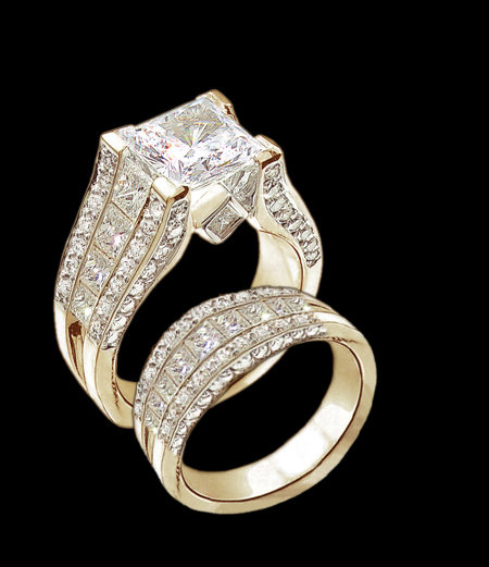 5.01 Ct. diamonds engagement ring band set yellow gold