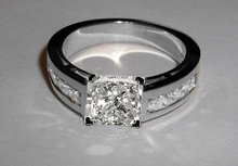 Princess cut engagement ring 3.5 ct. diamonds ring gold