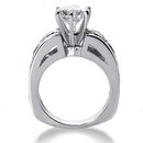 F VS1 diamonds 4.25 cts. Engagement ring with accents