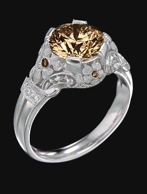 2.50 ct. champagne & white diamonds anniversary ring