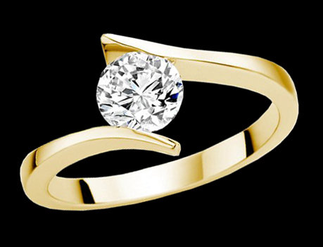 2.01 carat diamond solitaire ring yellow gold enagement