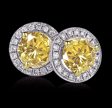 Yellow canary 10 ct. diamonds stud earrings gold new