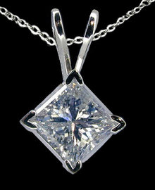 Diamond solitaire pendant locket with chain 2.01 carat