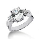 Diamond three stone ring 2.51 ct. gold engagement ring