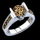 2.75 carat champagne brown diamonds ring white gold