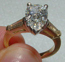 2.61 Ct. Diamonds pear cut ring two tone gold ring new