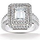 Big diamond ring emerald cut 2.79 ct. wedding ring gold