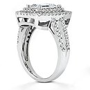 Big diamond ring emerald cut 2.79 ct. wedding ring gold