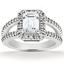 Big diamonds emerald cut engagement ring 2.71 Ct. gold
