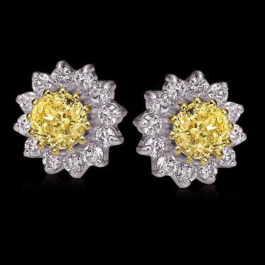 Yellow canary diamonds 8 ct. jacket earrings studs gold
