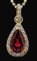 Red diamond pendant 3 carat pear cut diamonds pendant