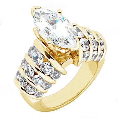 Yellow gold diamonds 3.75 carat engagement ring new