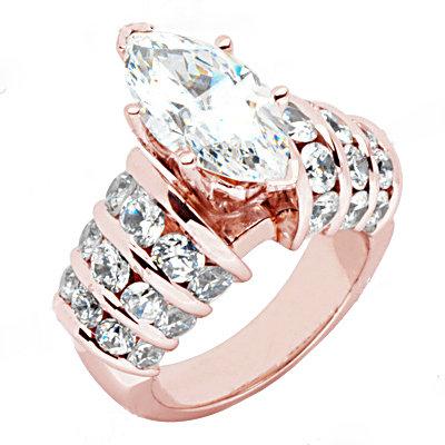 3.75 Ct. diamonds engagement ring pink rose gold ring
