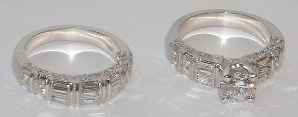 5.01 carats diamond bridal jewelry set ring and band