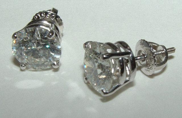 Round diamond studs 4 carat diamonds stud earrings gold