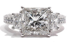 4.30 carat princess diamonds engagement ring 3 stone