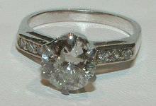 2.51 carat DIAMOND SOLITAIRE accents antique look ring
