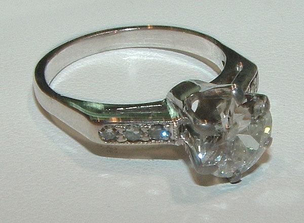 2.51 carat DIAMOND SOLITAIRE accents antique look ring