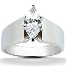 Big diamond solitaire ring 2.5 Carats marquise cut gold