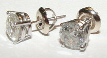F VVS1 Diamonds stud post earrings platinum 4.0 carats