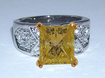 4 carats yellow canary DIAMOND ring antique look new