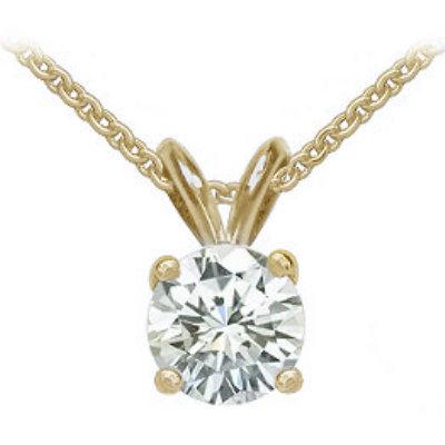 2 carat diamond & yellow gold pendant with chain E VVS1