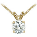 2 carat diamond & yellow gold pendant with chain E VVS1